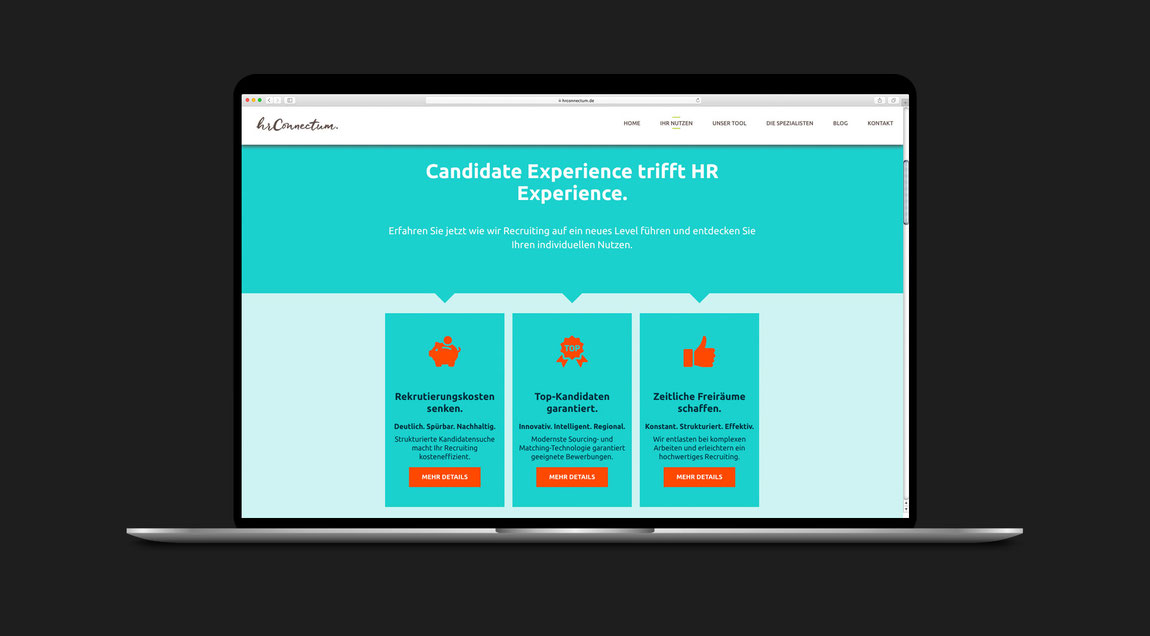 Website für hr connectum und matchgarden, Desktop-Ansicht
