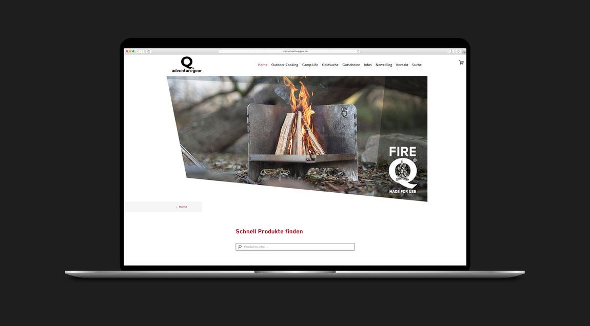 Website inkl. Shop für FireQ bzw. Q-Adventuregear – FireQ-Reisegrill