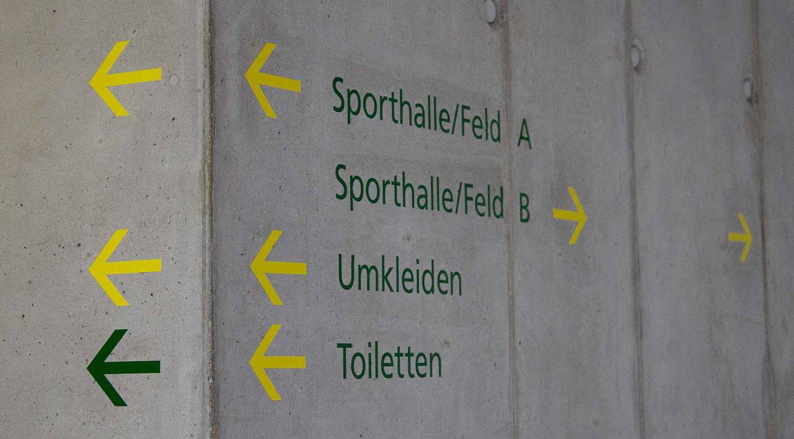 Wegleitsystem für das KIT Abteilung Hochschulsport, Eingangsbereich