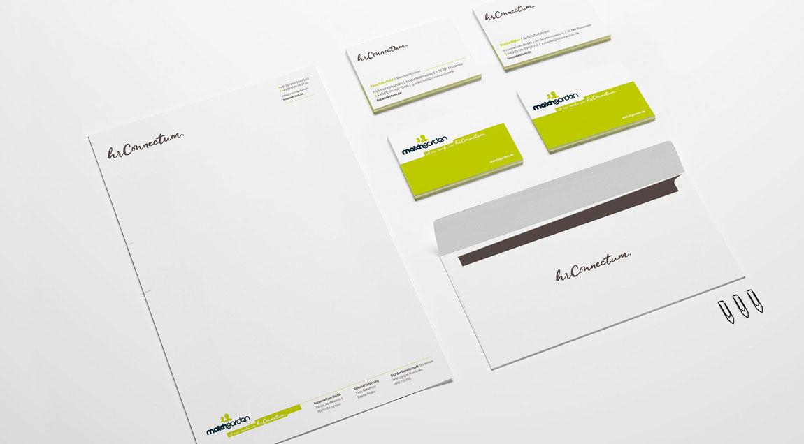 Erscheinungsbild für hr connectum und matchgarden, Logo, Geschäftsausstattung, Briefbogen, Visitenkarte