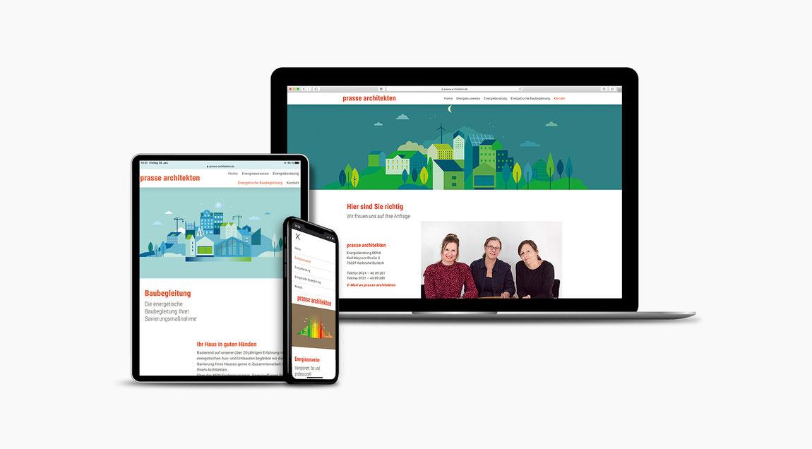Website für Prasse Architekten aus Karlsruhe-Durlach.