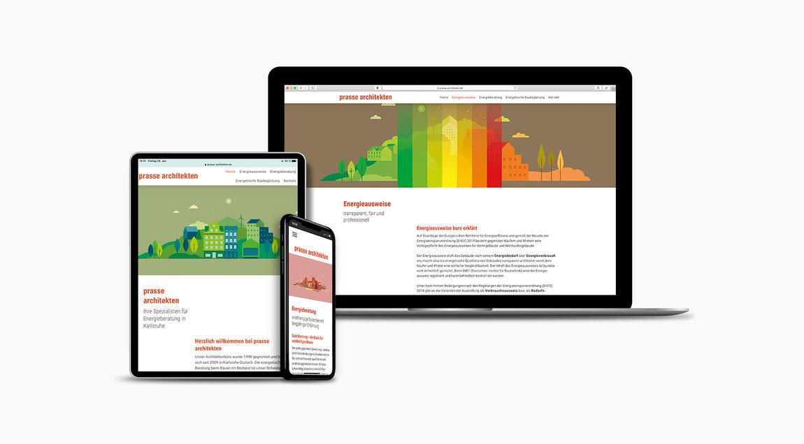 Website für Prasse Architekten aus Karlsruhe-Durlach