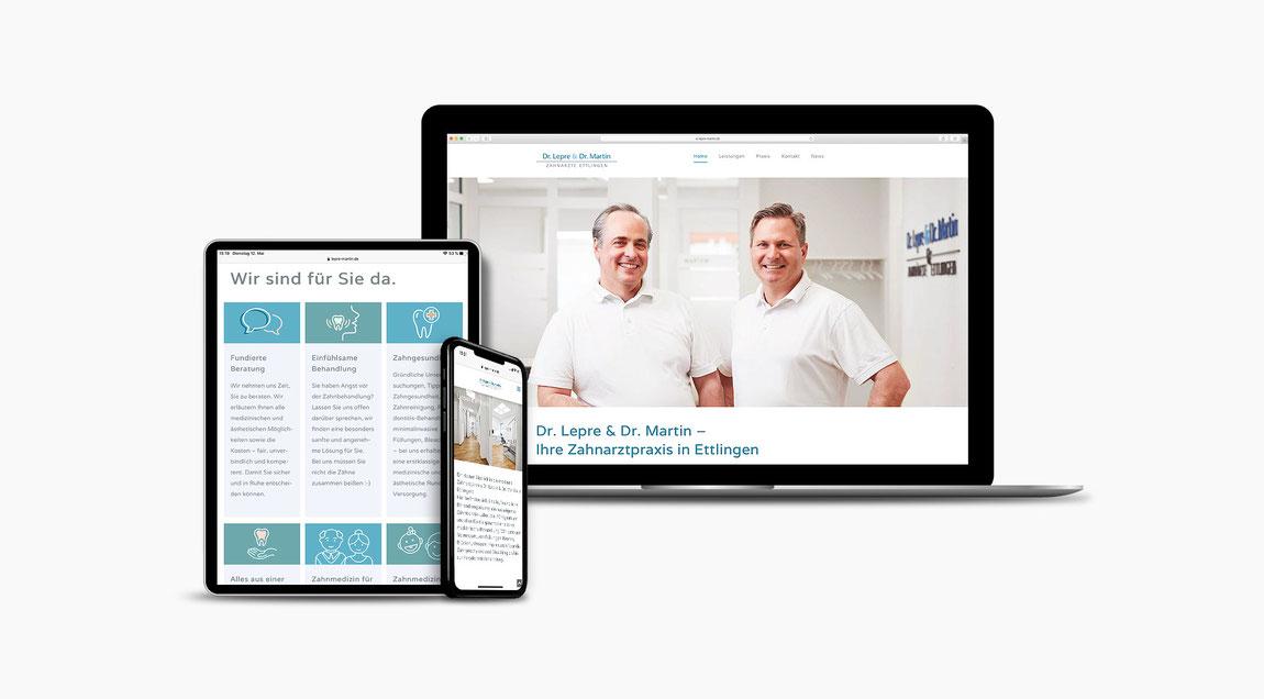 Website Zahnärzt Dr. Lepre & Dr. Martin aus Ettlingen