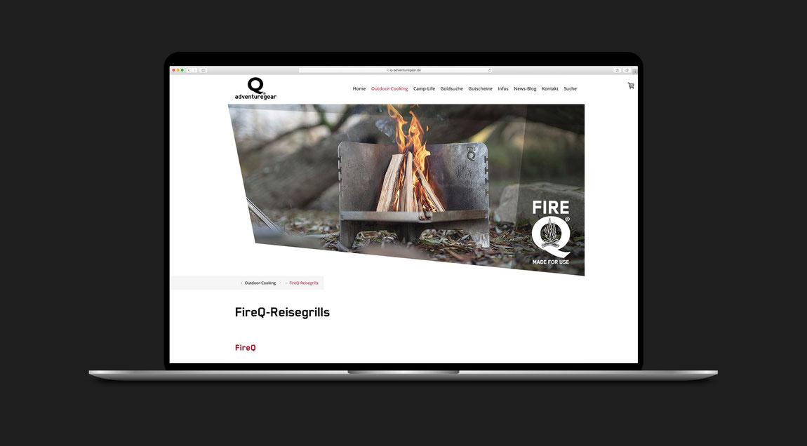 Website/Online-Shop für FireQ bzw. Q-Adventuregear.