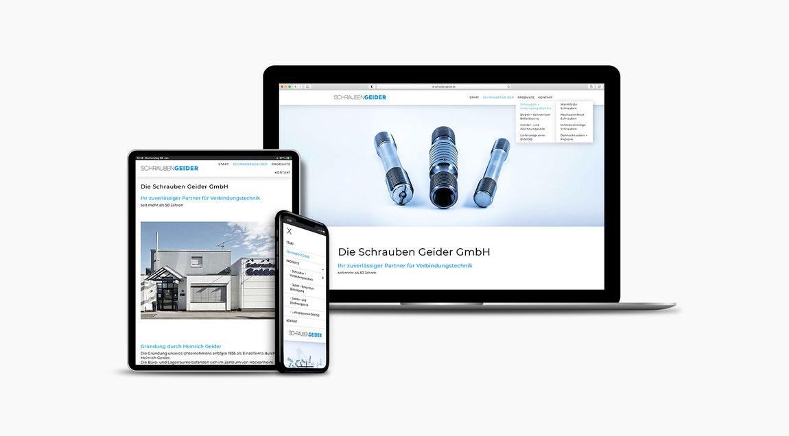 Modernes Erscheinungsbild für die Firma Schrauben Geider aus Hockenheim. Webdesign.