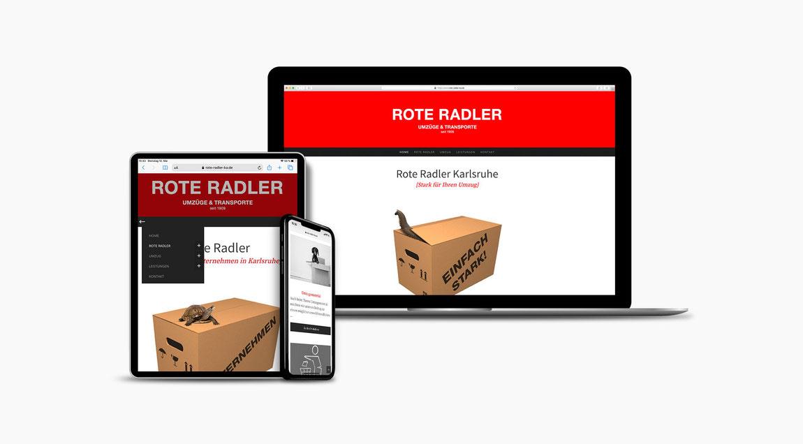 Website Rote Radler Karlsruhe – Umzüge und Transporte