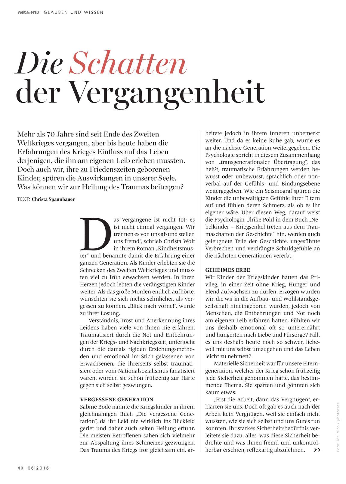 Der Artikel von Christa Spannbauer beleuchtet die Traumaspuren des 2. Weltkriegs in unserem Leben heute