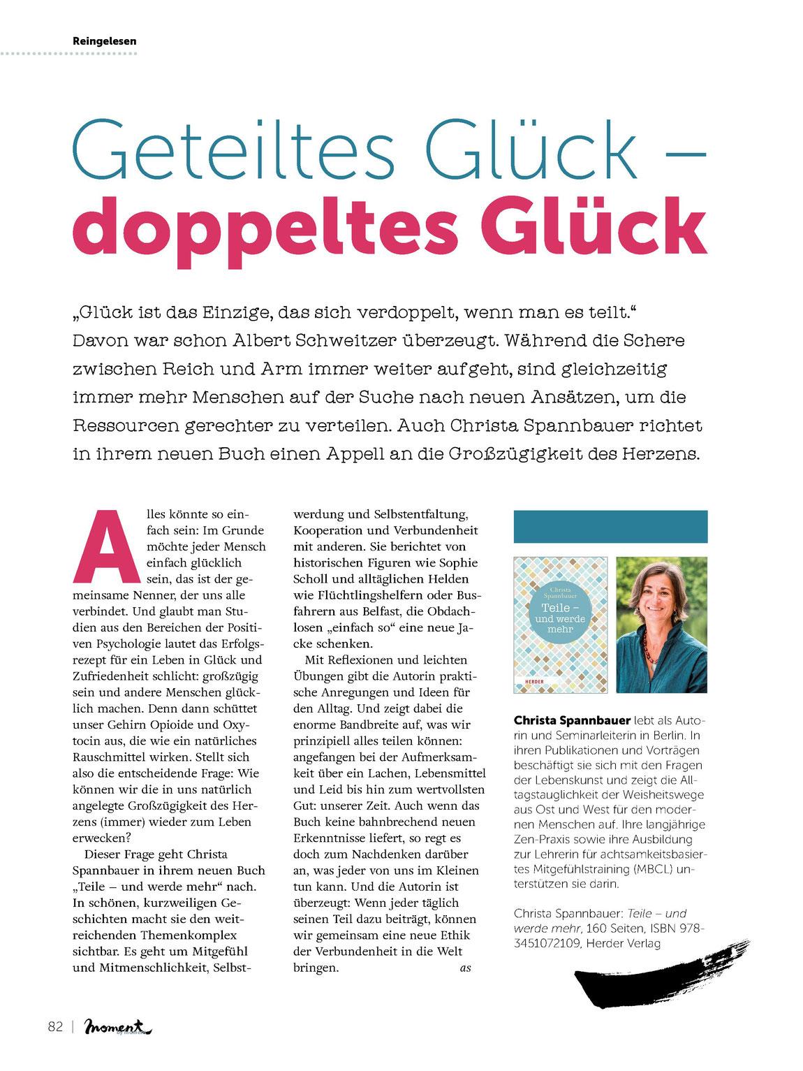 Mit freundlicher Genehmigung der Redaktion moment by moment Ausgabe 4_2017 www.moment-by-moment.de