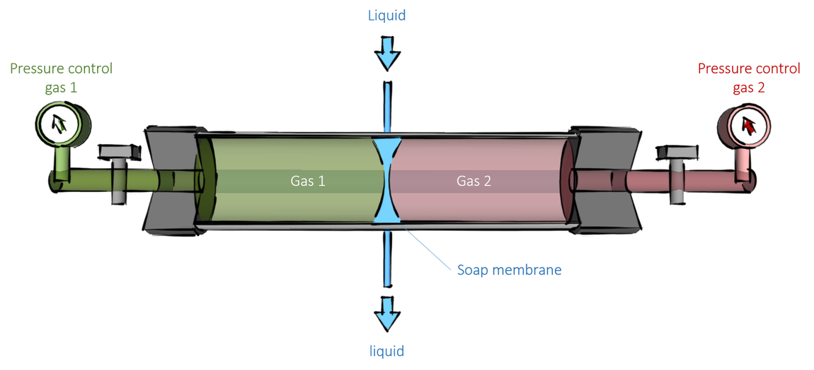 Illustration of one of the experimental setups that are used to test the diffusion capacity of a soap membrane