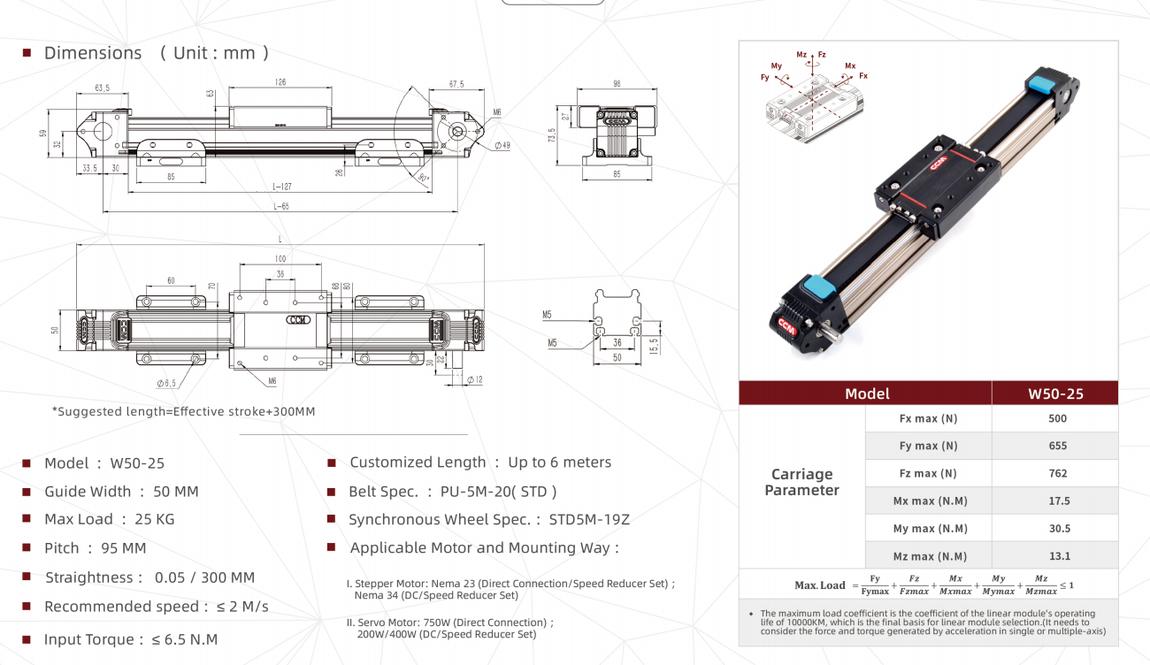 W50-25 linear module