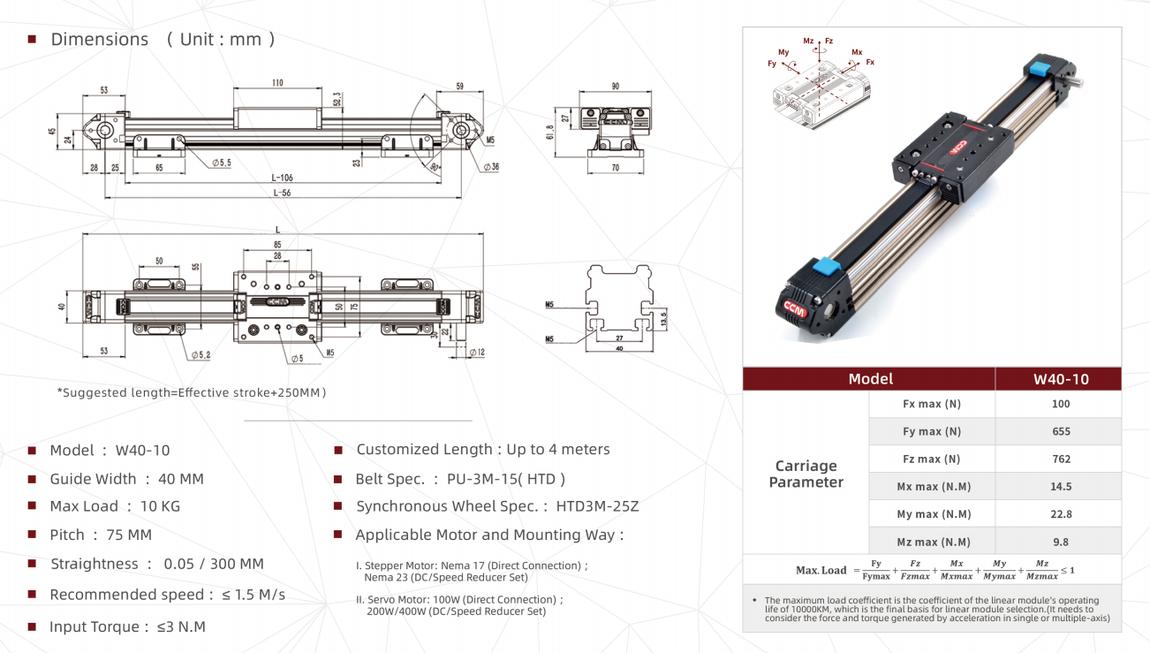 W40-10 linear module