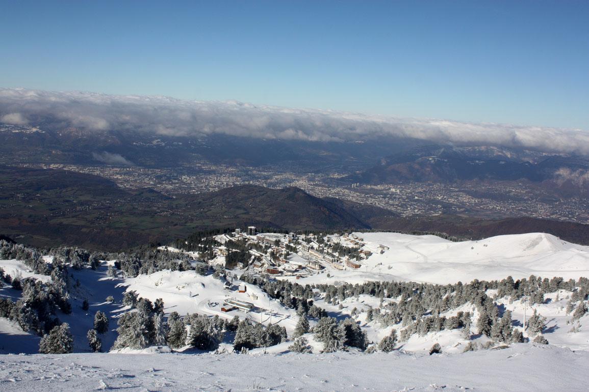 Vue depuis les Crêtes sur le Recoin et Grenoble