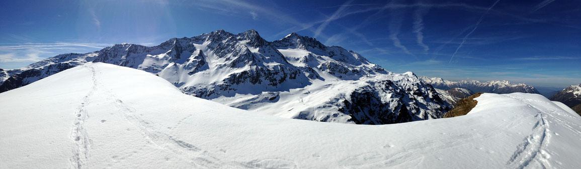 Panoramique sur les Grandes-Rousses depuis le sommet des Aiguillettes de Vaujany