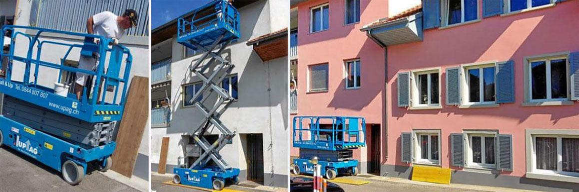 Fassadenanstrich mit einer Arbeitsbühne in Ormalingen BL
