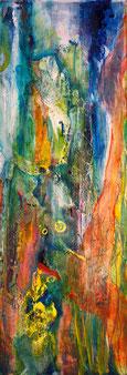 """""""Fluss der 5 Farben"""" - Acryl auf Holz 30x70"""