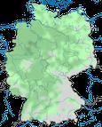 Karte zur Verbreitung der Schleiereule (Tyto alba) in Deutschland.