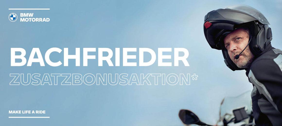 BACHFRIEDER Zusatzbonus, BMW Motorrad, Motorrad Aktion, Sonderaktion, Günstige BMW Motorräder