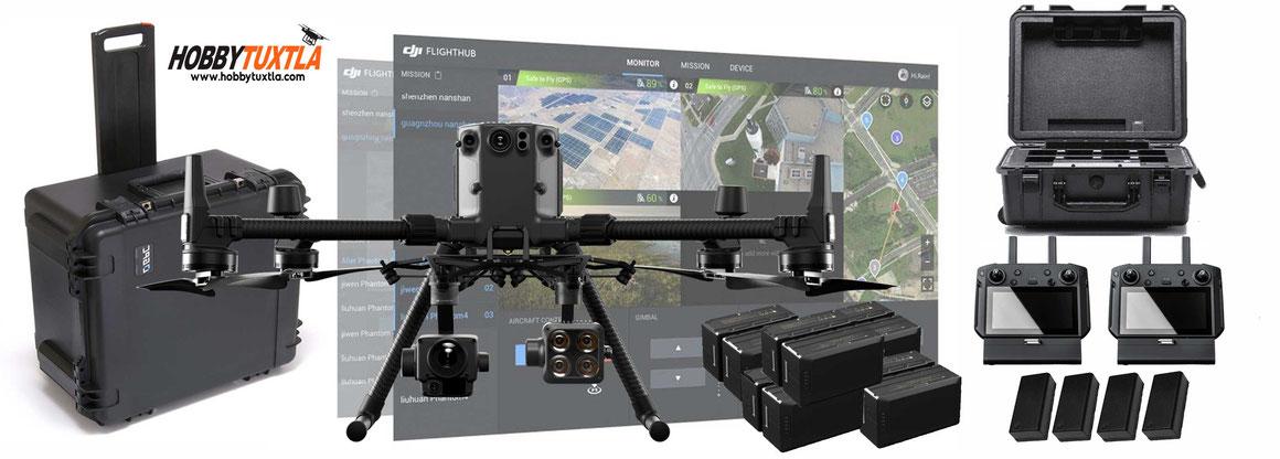Matrice 300 RTK solución completa para seguridad pública contiene el mejor dron con cámara térmica, zoom y visual, sistema de monitoreo remoto, tiempo de vuelo ininterrumpido