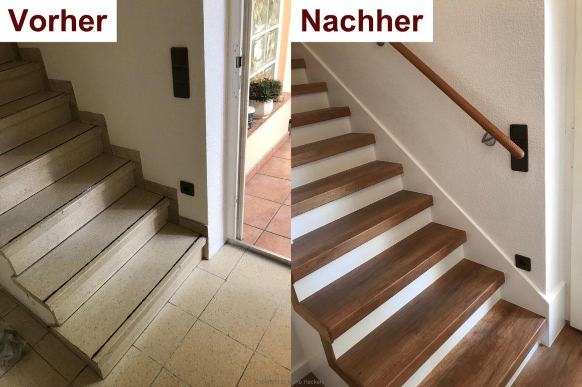 Treppenrenovierung mit Laminatstufen Eiche Vintage. Die Wange wurde weiß lackiert.