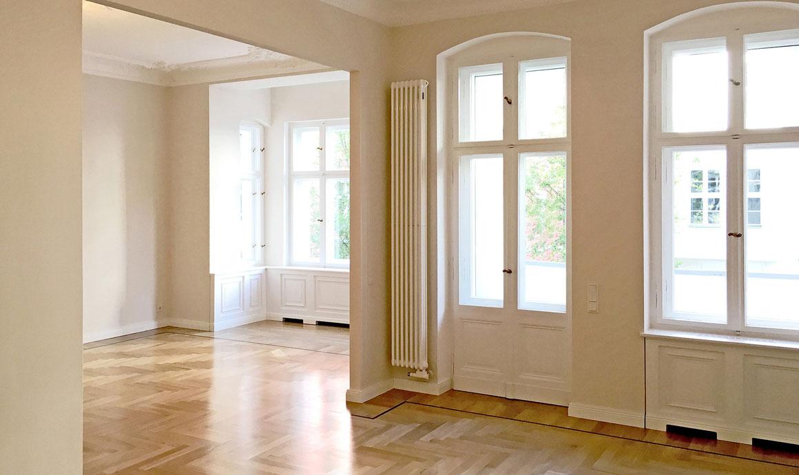 bauzeit berlin, Bauleitung und Gesamtumsetzung, denkmalgerechter, luxuriöser Umbau der Wohnung, komplette Grundrissänderung und Innenausbauten
