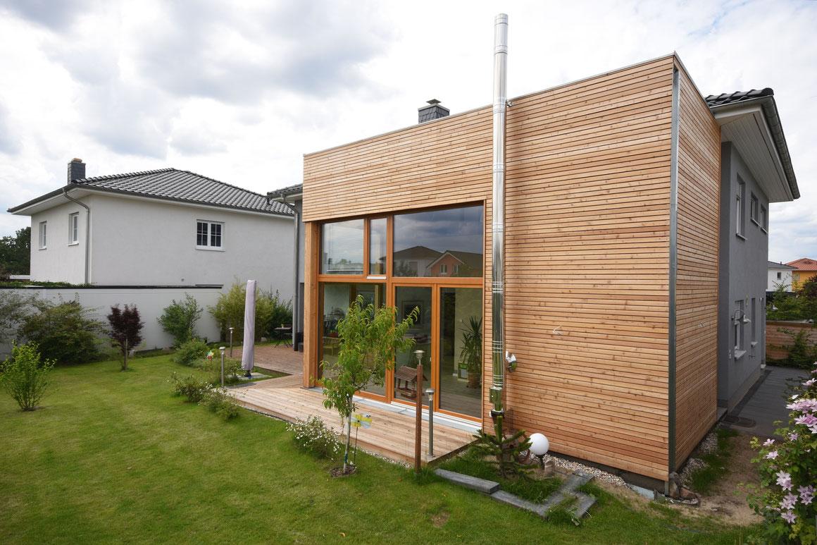 bauzeit berlin, Projektleitung, holzanbau berlin-karlshorst, Holzanbau mit Treppe und Umbau des Hauses