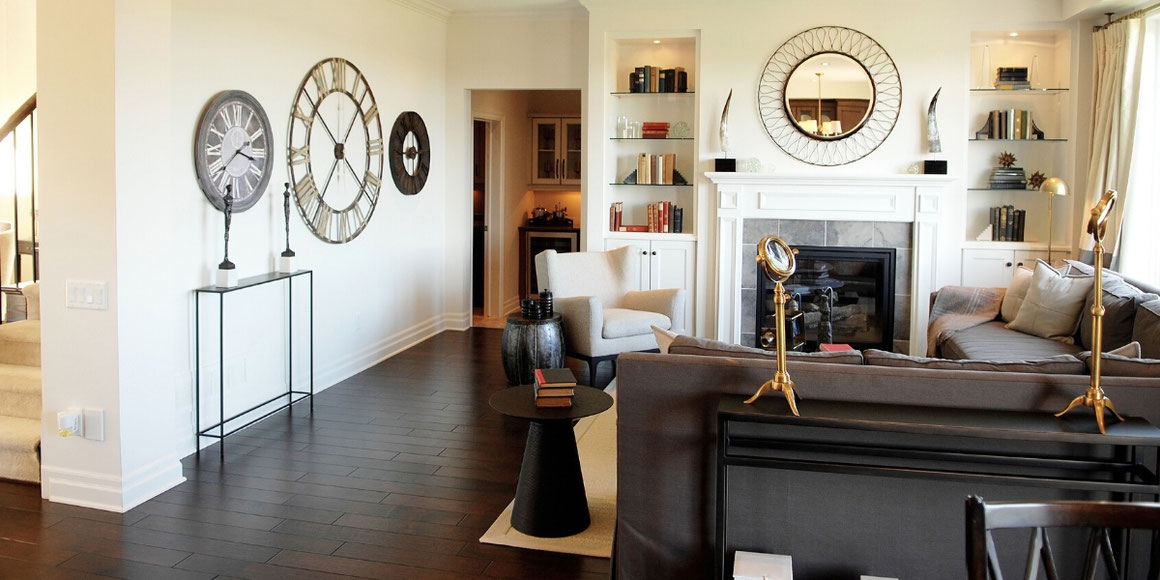 hardwood flooring in a family room