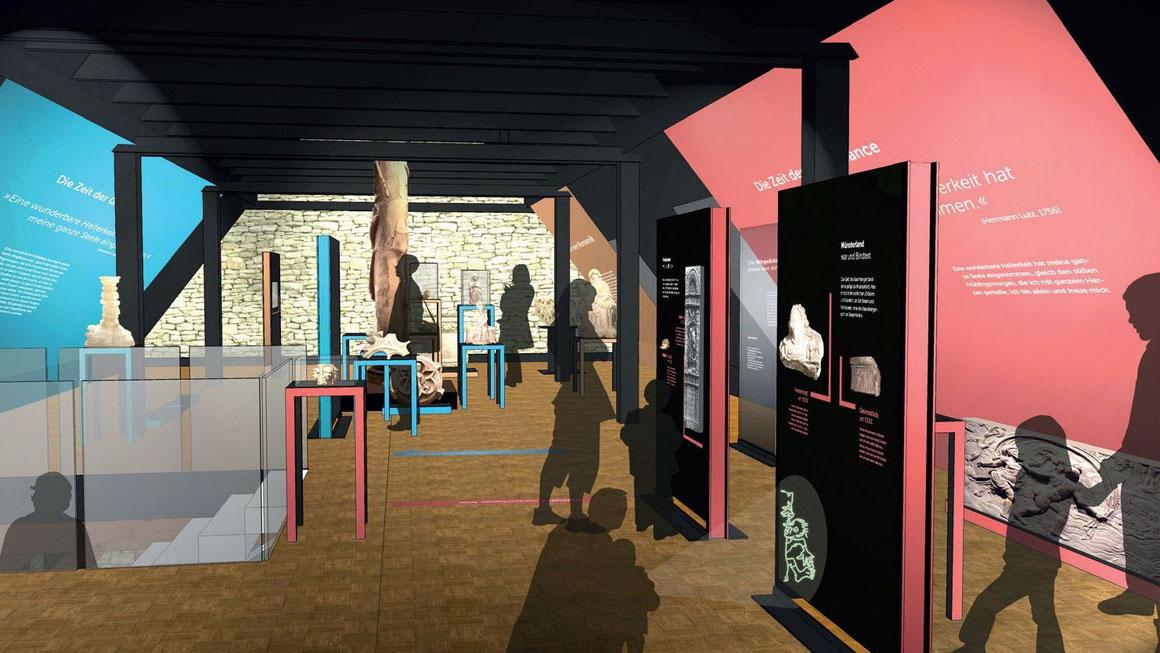 """So soll das Obergeschoss nach der Neugestaltung aussehen. Für Kinder können dann mittels UV-Lampen die sonst unsichtbaren """"Teitekerlken"""" entdecken und mit Hilfe von Leih-MP3-Playern kindgerechte Zusatzinformationen hören. Foto: Sandstein-Museum"""