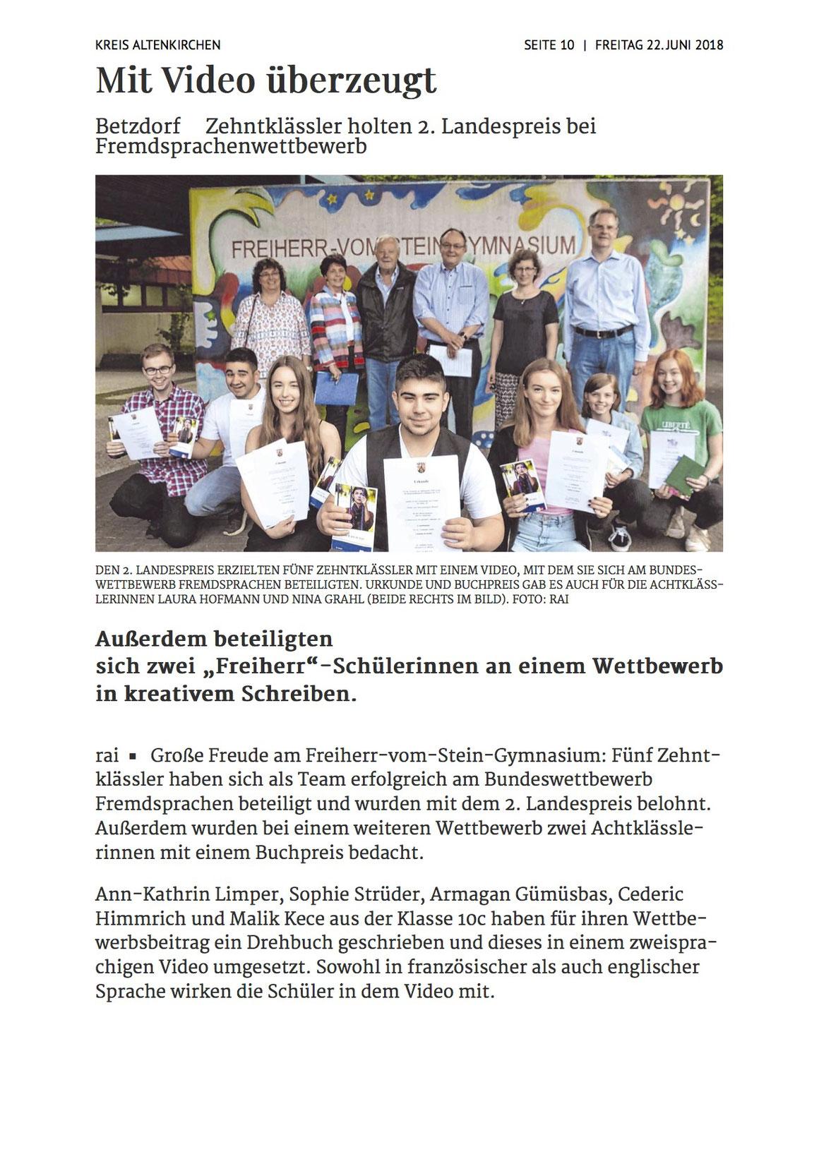 Siegener Zeitung, 22.06.2018