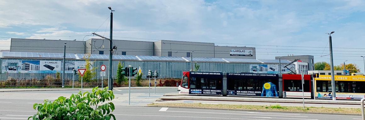 Premium Solarglas GmbH  Erfurt | Produktionswerk für individuelle transparente Solarmodule z.B. Solarfassade, Solarcarport, Solarterrassen, Solarbalkon
