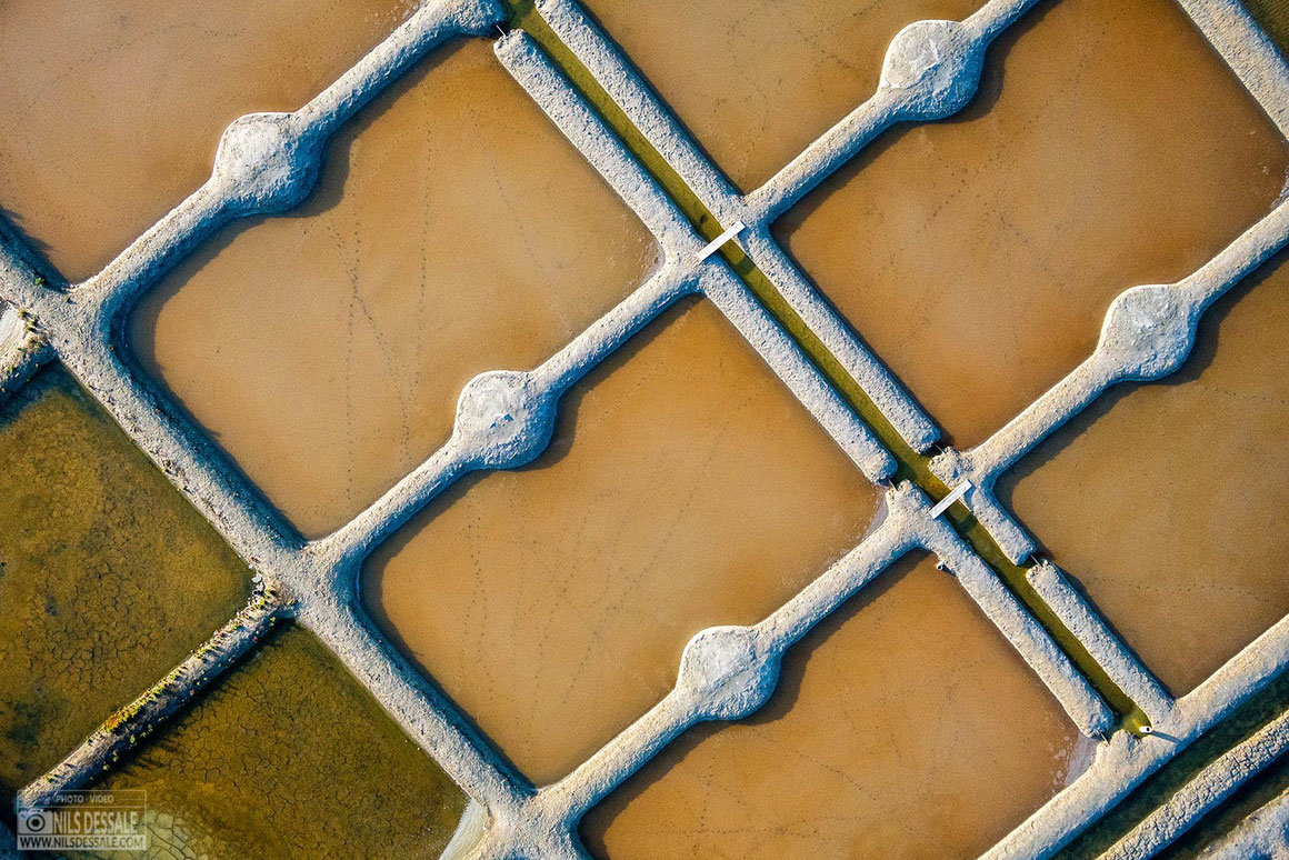 Photographie aérienne des marais salants de Guérande