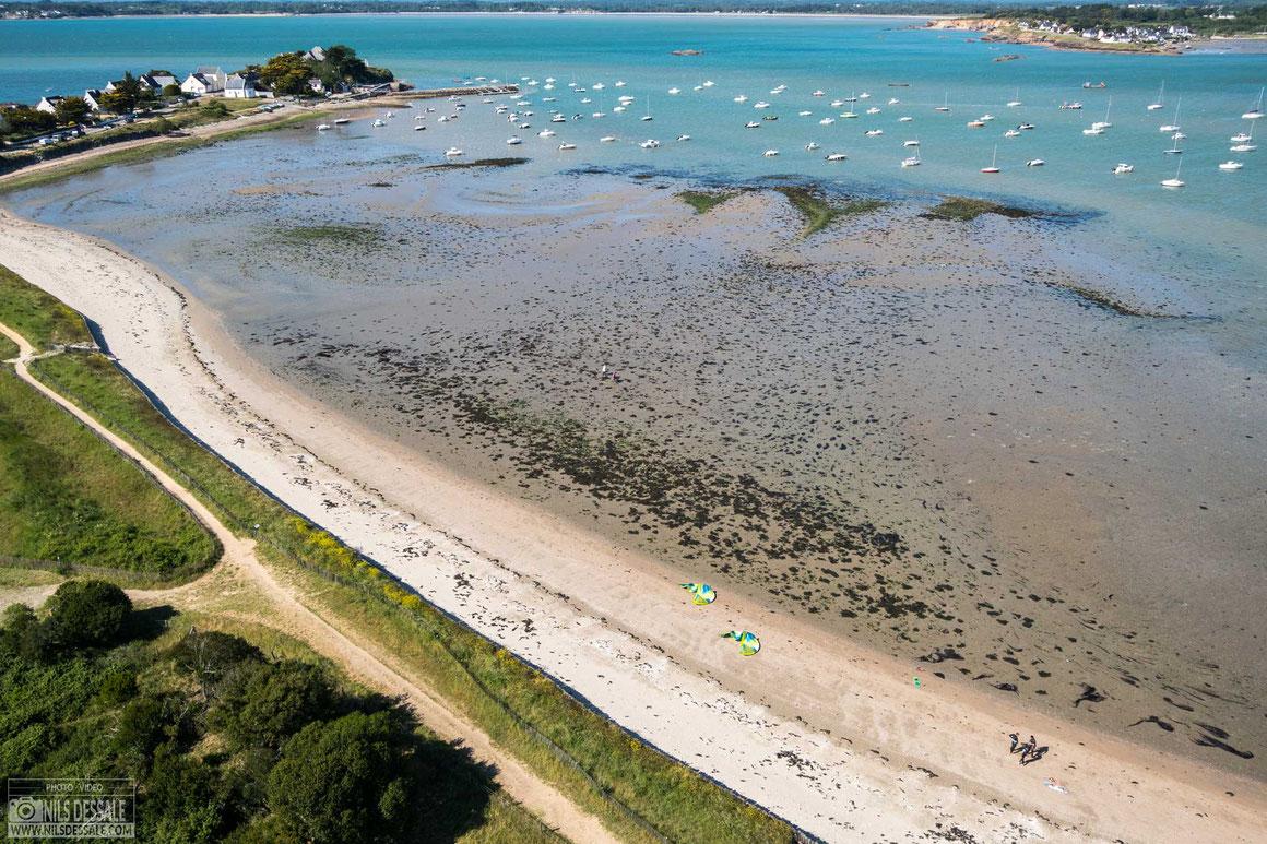 Photographie aérienne KAP Bassin de mes, session kitesurf à Kercabellec