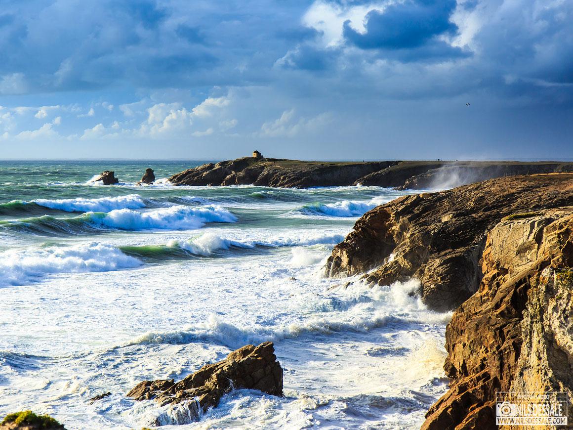 Pointe du percho dans la tempête, photographe presqu'île de quiberon
