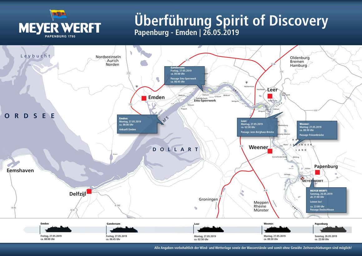 Emsüberführung der Spirit of Discovery Plan