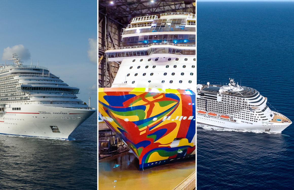 Drei Kreuzfahrtschiffe werden/ wurden in dieser Woche übergeben |Bild links (Carnival Panorama): © Carnival Cruise Line, Bild mittig (Norwegian Encore): © Norwegian Cruise Line, Bild rechts (MSC Grandiosa): ©MSC Kreuzfahrten