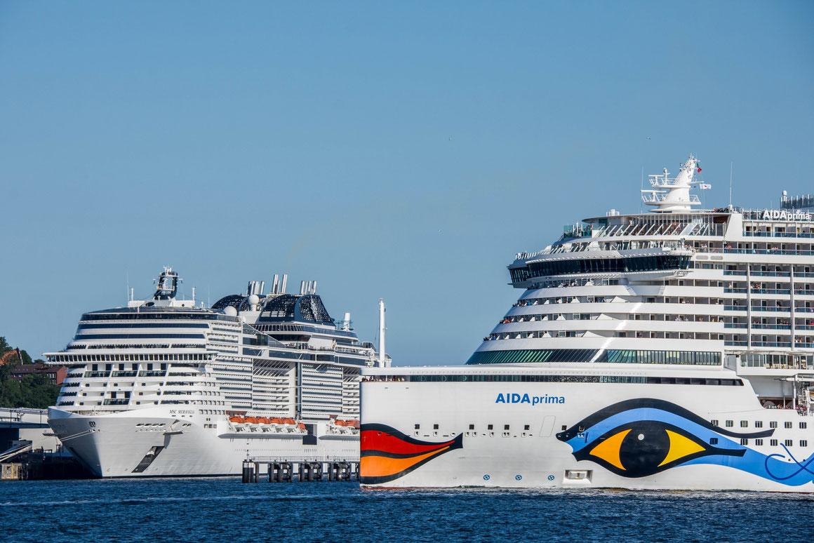 MSC Meraviglia & AIDAprima in Kiel