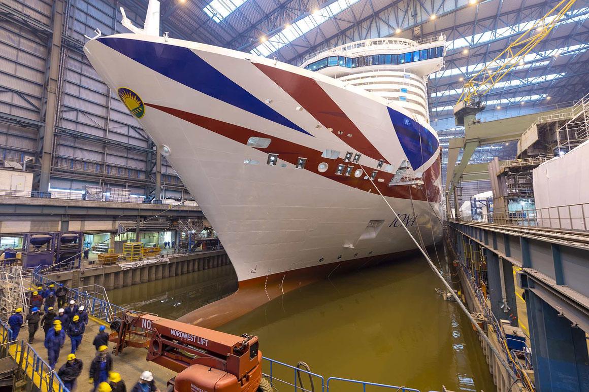 Noch liegt die IONA im Baudock der Papenburger Meyer Werft |©Michael Wessels