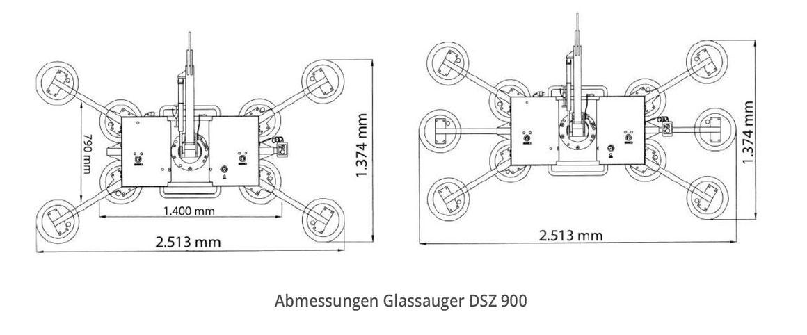 Vakuumsauger Glassauger DSZ 900 Abmessungen