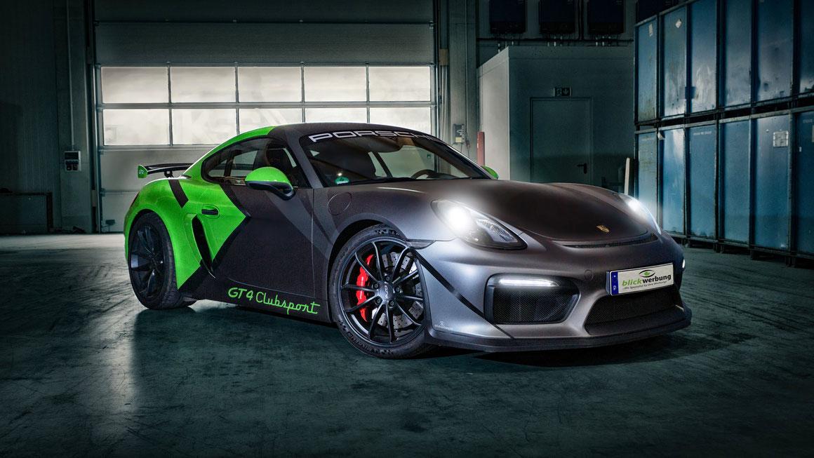 Porsche Cayman GT4 Auto Folierung, KFZ Folierung - von Weiß auf Mattschwarz, Carbon, Leuchtgrün - Blickwerbung in Crailsheim