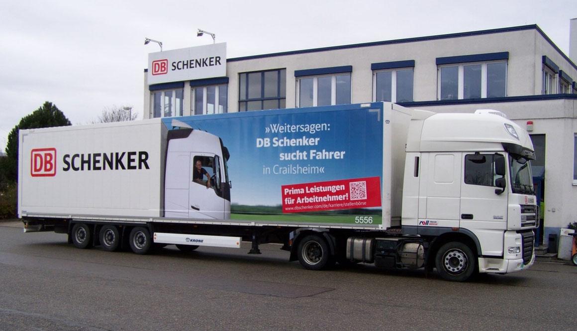 LKW Beschriftung Transporter und Firmenbeschriftung, Teilbeklebung und Vollverklebung - DB Schenker - Blickwerbung aus Crailsheim