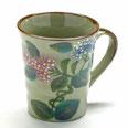 九谷焼『マグカップ』がく紫陽花ピンク&ブルー『背中・裏絵ブルー』