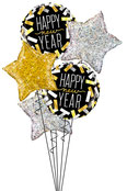 Luftballon Folienballon Ballon Bouquet Strauß Heliumballon Helium Happy New Year Stern Sterne gold silber schwarz holographic holographisch Neujahr Party Dekoration Geschenk Überraschung Mitbringsel Silvester