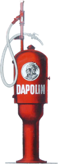 Kategorie: Öldosenschränke & Zapfsäulen -> Abbildung Werbemotiv Tankstelle Dapolin