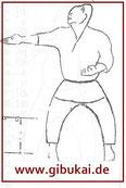 """Naihanchi, Bild 2"", auf das Funakoshi verweist."