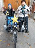 Dreiradlieferant als Freudenspender