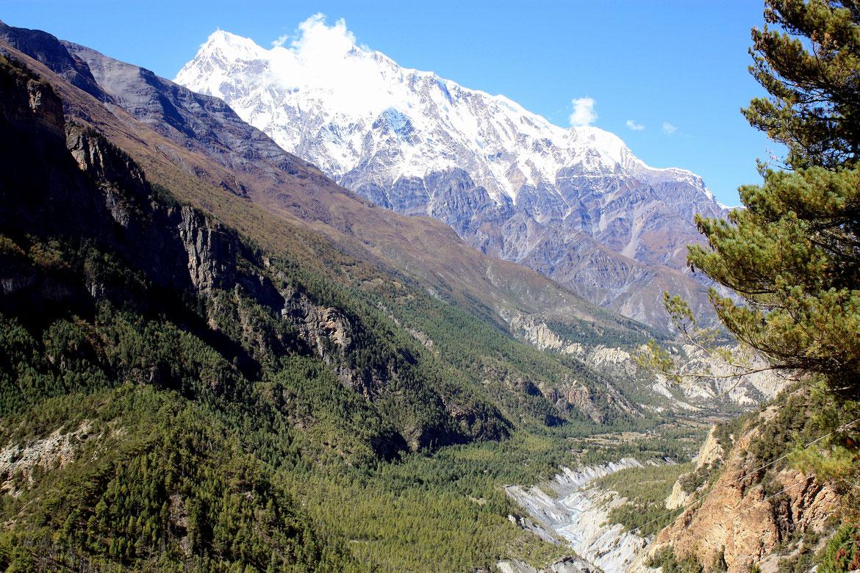 En montant à Ghyaru (3 670 m), la vallée de la Marsyangdi Nadi avec l'Annapurna III (7 559 m) se dévoilent