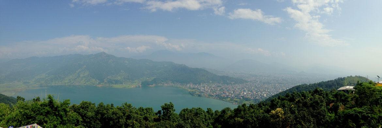 Panoramique depuis la Pagode de la Paix, Lac Phewa & Pokhara