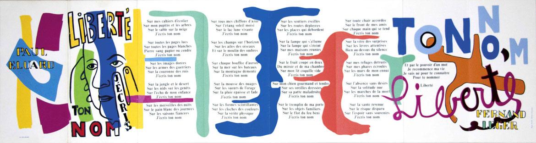 """Le poème """"Liberté"""" illustré par Fernand Léger (à plat) : cliquez pour zoomer"""