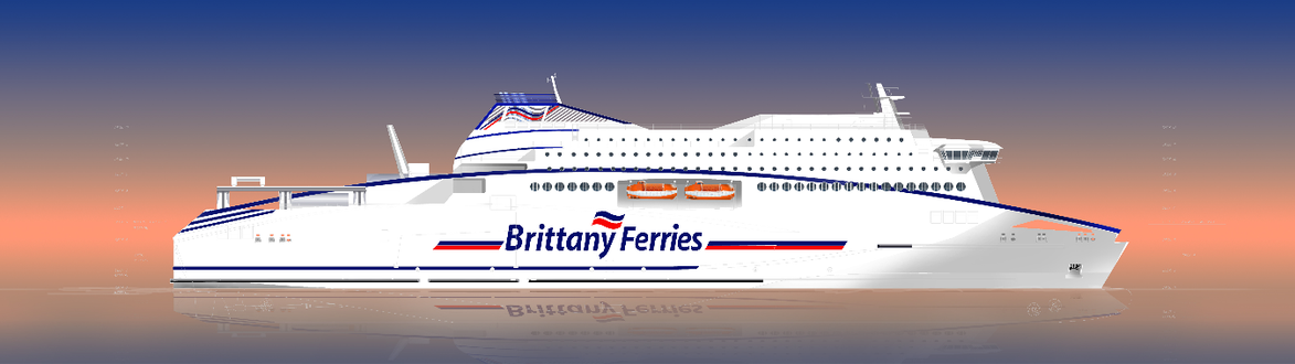 Vue d'artiste du nouveau navire de Brittany Ferries, qui devrait être mis en service sur la ligne Ouistreham - Portsmouth à l'horizon 2019.