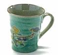 九谷焼『マグカップ』金糸梅に鳥緑塗り『裏絵』