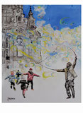 Peter Albach, Dresden, Ölmalerei, Frauenkirche, Wolken, Landschaft, bildende Kunst, Seifenblasen, fröhliche Kinder, Peter Albach, Dresden, oil painting, Frauenkirche, clouds, landscape, visual arts, soap bubbles, happy children,ピーターアルバッハ、ドレスデン、油絵、フラウエン教会、